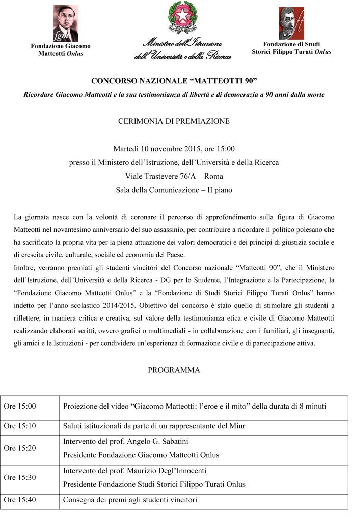Programma_Premiazione Concorso Matteotti90  10_11_15