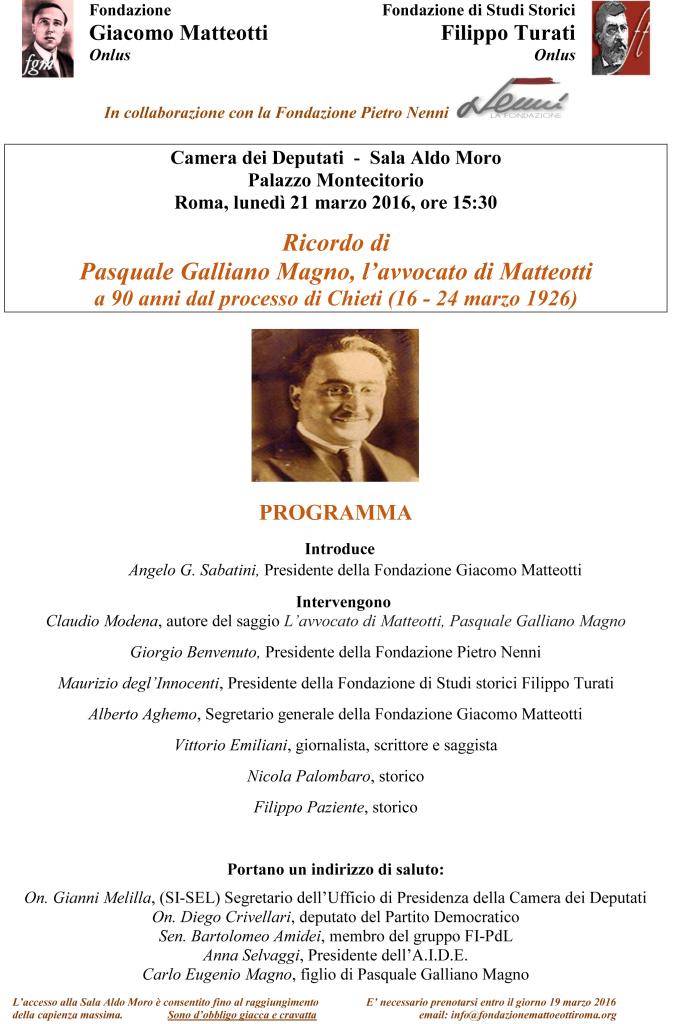 Galliano Magno - 90° Processo Matteotti 21_03_16 Programma Invito