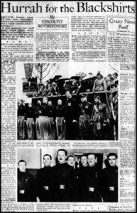 Propaganda a favore della BUF di Mosley sulla stampa britannica