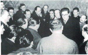 Il ministro Lombardi festeggiato al CLN cittadino, con Rodolfo Morandi (Milano, 14 dicembre 1945)
