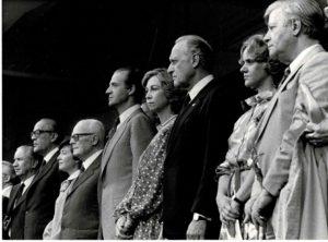 Mondiali di calcio in Spagna: Pertini, il re Juan Carlos e Helmut Schmidt.