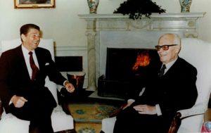 Washington. A colloquio con il presidente Reagan alla Casa Bianca.