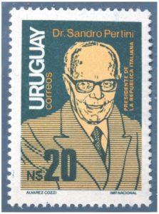 28. Francobollo emesso dalle poste uruguayane nel 1986 a ricordo della visita di Sandro Pertini.